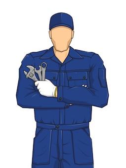 Professionelle automechaniker-karikatur