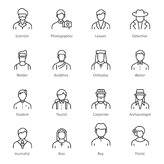 Professionelle avatar-linie icons pack