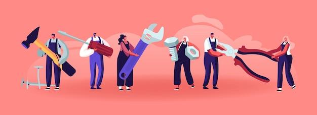 Professionelle bauarbeiter mit werkzeugen. winzige charaktere in uniform-overalls stehen in reihe mit riesigen instrumenten und geräten für die reparatur und renovierung von häusern. flache vektorillustration der karikatur