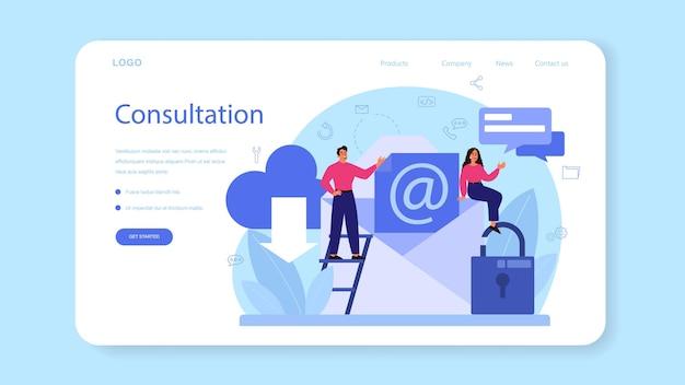 Professionelle beratung web-banner oder landing page. forschung und empfehlung. idee des strategiemanagements und der fehlerbehebung. helfen sie kunden bei geschäftlichen problemen.