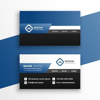 Professionelle blaue geometrische visitenkarteschablone