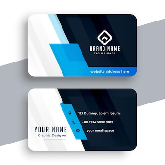 Professionelle blaue visitenkartenvorlage