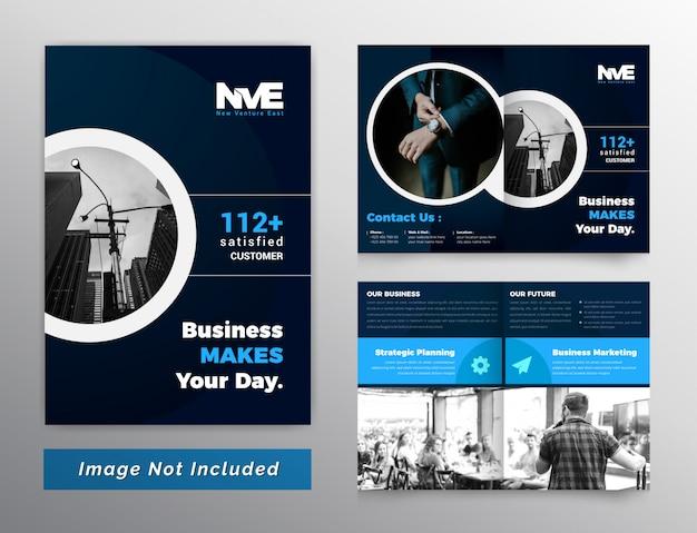 Professionelle business bifold broschüre dunkel und blau