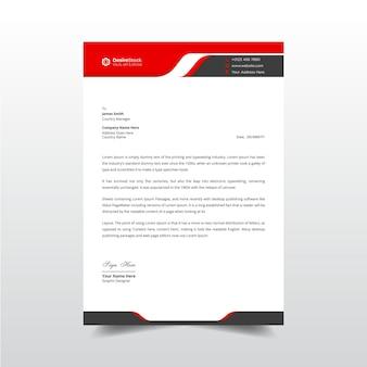 Professionelle business-briefkopf-vorlage mit roter und schwarzer kopfzeile