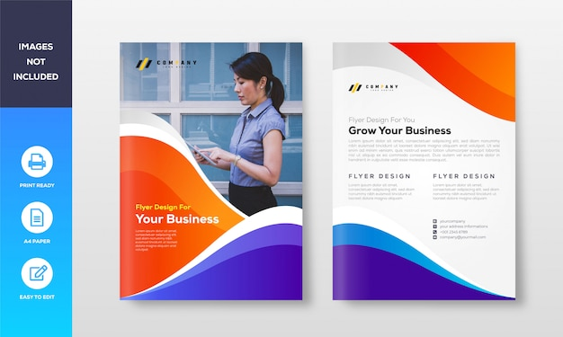 Professionelle business flyer design vorlage Premium Vektoren