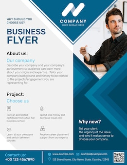 Professionelle business flyer vorlage blaues modernes design