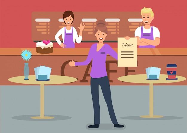 Professionelle cafeteria service werbung