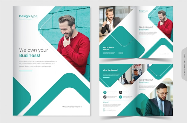 Professionelle corporate business bi-fold-broschürenvorlage
