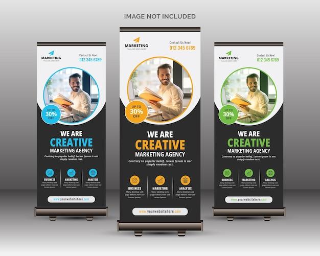 Professionelle corporate roll up banner vorlage mit kreativen runden formen