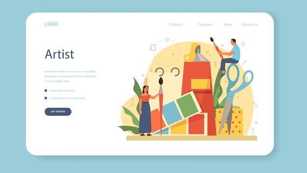 Professionelle dekorateur web banner oder landing page. designer planen den raum, wählen wandfarbe und möbelstil. hausrenovierung.