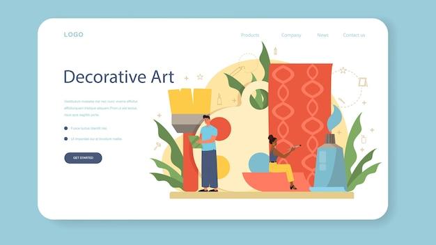 Professionelle dekorateur web banner oder landing page. designer plant die gestaltung eines raumes, wählt wandfarbe und möbelstil. hausrenovierung.