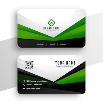 Professionelle designvorlage der geometrischen grünen visitenkarte