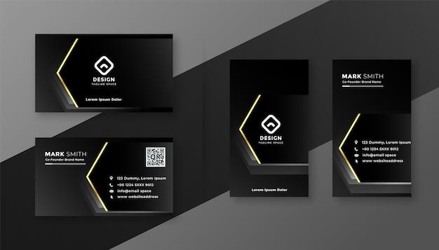 Professionelle dunkelschwarze visitenkarte mit goldenem effektdesign