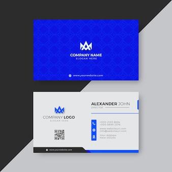 Professionelle elegante blaue und weiße moderne visitenkarten-design-vorlage