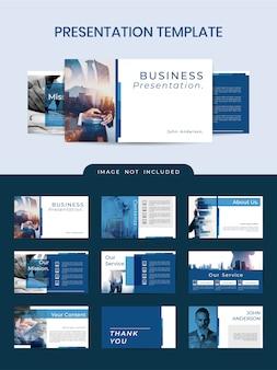 Professionelle elegante powerpoint-vorlage mit klassischer blauer farbe