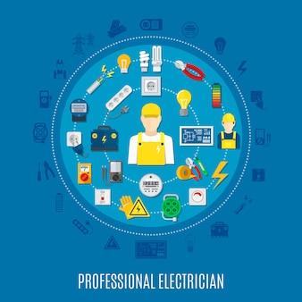 Professionelle elektrikerrunde