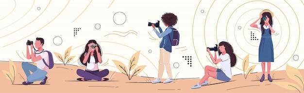 Professionelle fotografen, die foto-foto-mix-rennen frauen männer fotografieren, schießen mit digitalem dslr-kamera-landschaftshintergrund-horizontalbanner