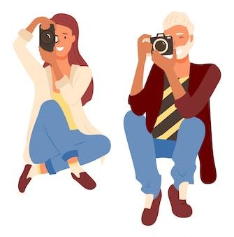 Professionelle fotografen schießen, kamera
