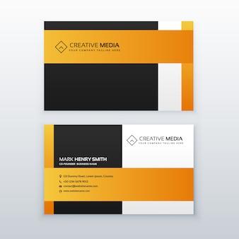 Professionelle gelbe und schwarze visitenkarte design-vorlage für ihre marke