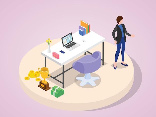 Professionelle geschäftsfrau erfolgreiche charaktere professioneller erfolg tragen anzug stehen bei der arbeit laptop