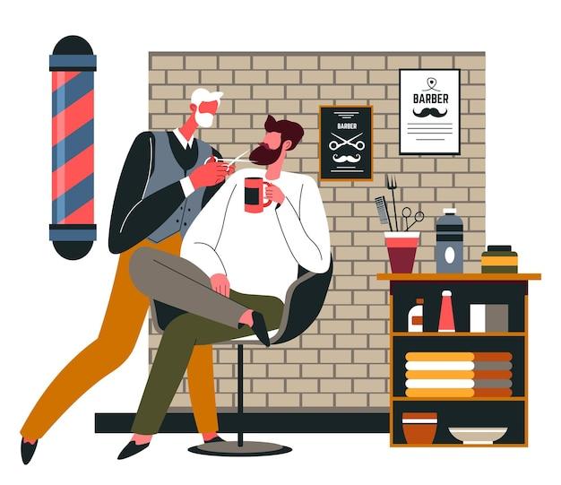 Professionelle haarstyling-pflege für kunden im friseurladen. kunde sitzt im stuhl mit haarschnitt, behandlung von schnurrbärten. styling für herren an besonderen orten, schönheit und hygiene. vektor in flach