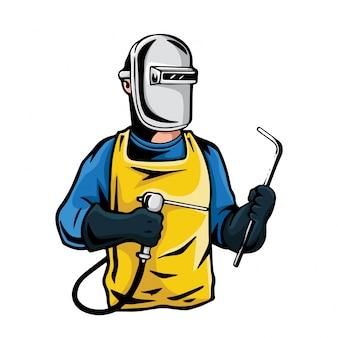 Professionelle industrielle schweißer-charakter-illustration