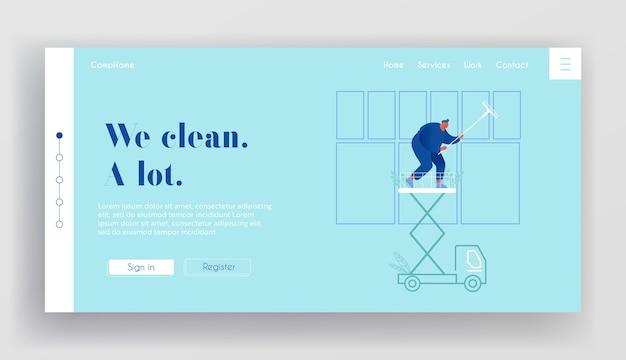 Professionelle industrielle tiefenreinigung company website landing page. mann arbeiter im blauen einheitlichen reinigungsfenster, das auf autoaufzugsplattform-webseitenbanner steht. cartoon wohnung
