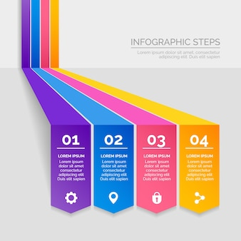 Professionelle infografik schritte im farbverlauf