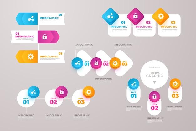 Professionelle infographik farbverlaufselemente