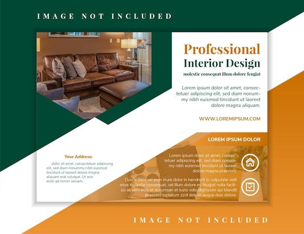 Professionelle innenarchitektur-flyer-design-vorlage mit weißem hintergrund des horizontalen layouts