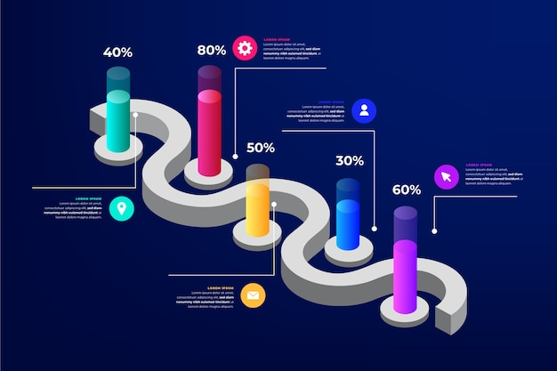 Professionelle isometrische infografik