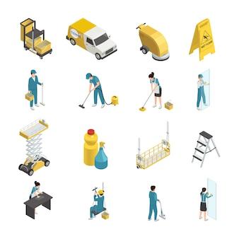 Professionelle isometrische reinigungssymbole mit personal in uniform, reinigungsmitteln und maschinenausstattung einschließlich transport