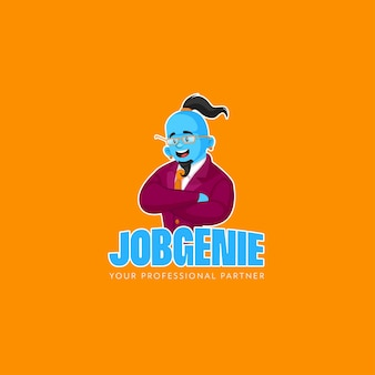 Professionelle job genie vektor maskottchen logo vorlage