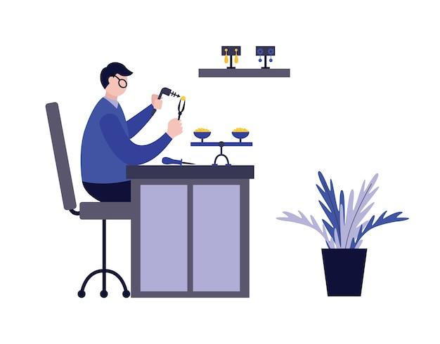 Professionelle juweliermann-karikaturfigur, die im flachen stil des arbeitsplatzes arbeitet