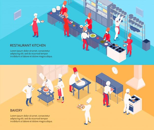 Professionelle kochende isometrische fahnen mit restaurantküche und -bäckerei auf den blauen und gelben hintergründen lokalisiert