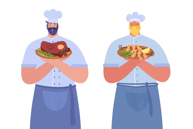 Professionelle köche. der erste koch hält ein steak. der zweite koch hält die garnelen.