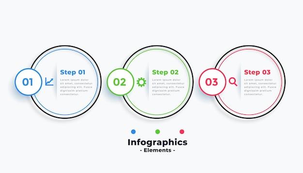 Professionelle kreisförmige infografik-vorlage mit drei schritten