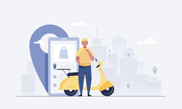 Professionelle kuriere liefern bestellungen und flachroller. mobile app zur auftragsverfolgung. vektor-illustration.