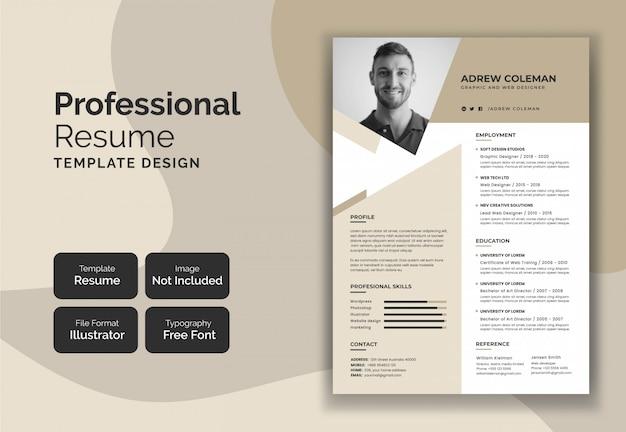 Professionelle lebenslauf curriculum template design