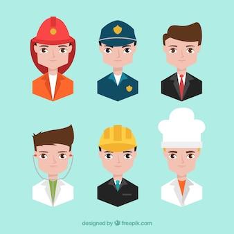 Professionelle männer avatare mit cartoon-stil