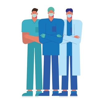 Professionelle männliche ärzte, die medizinische maskenillustration tragen