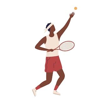 Professionelle männliche große tennisspieler halten rakete vektor flache illustration. schwarzer kerl, der ball vor dem treffer auf weißem hintergrund hochwirft. aktiver sportler, der sportspiel spielt.
