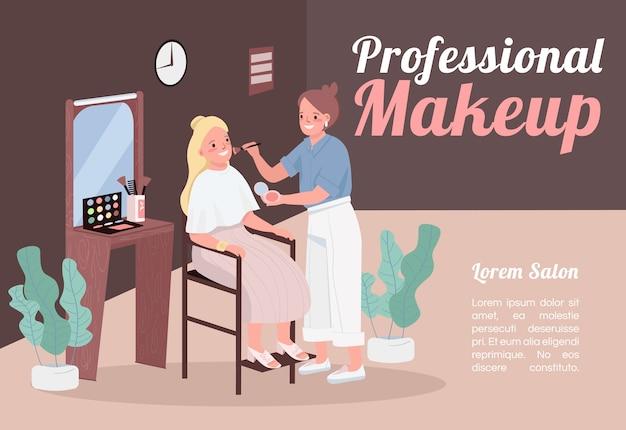 Professionelle make-up banner flache vorlage. broschüre, plakatkonzeptentwurf mit zeichentrickfiguren. kosmetikerin kosmetikservice. horizontaler flyer zur hautpflege, packungsbeilage mit platz für text