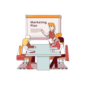 Professionelle marketingberaterin gibt eine rede