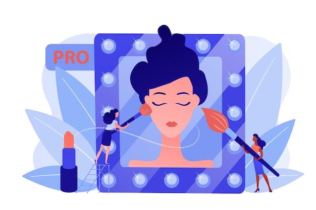 Professionelle maskenbildner, die make-up mit pinsel auf frauengesicht im spiegel auftragen. professionelles make-up, pro-artistik, maskenbildner-arbeitskonzept. isolierte illustration des rosa korallenblauvektors