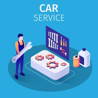Professionelle mechaniker auto service werbung