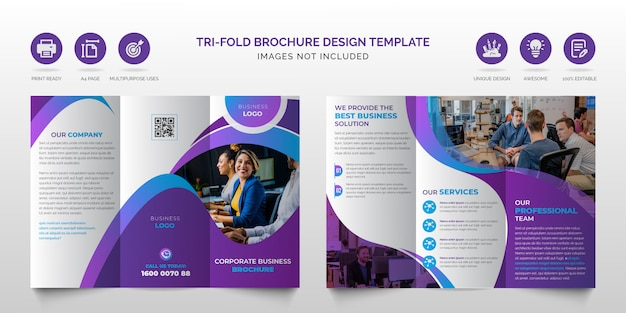 Professionelle moderne blaue und lila mehrzweck-dreifachbroschüre für unternehmen oder beste designvorlage für die dreifach gefaltete geschäftsbroschüre