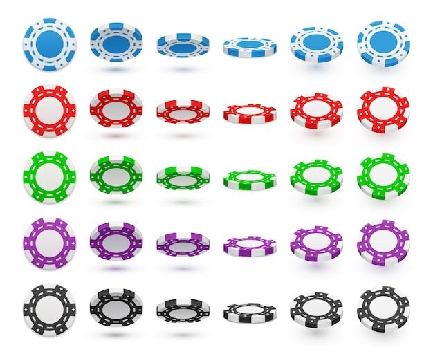Professionelle pokerchips 5 realistische bunte horizontale sets in blau rot grün lila schwarz rotierend