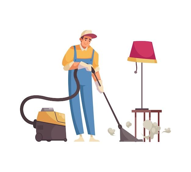 Professionelle reinigungskraft, die in der wohnung aufräumt
