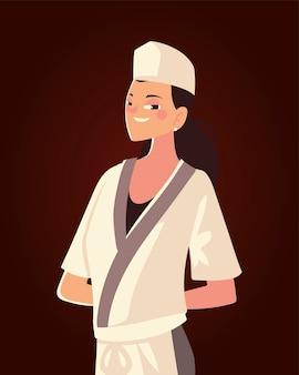 Professionelle restaurantvektorillustration der weiblichen köchincharakterarbeiterin